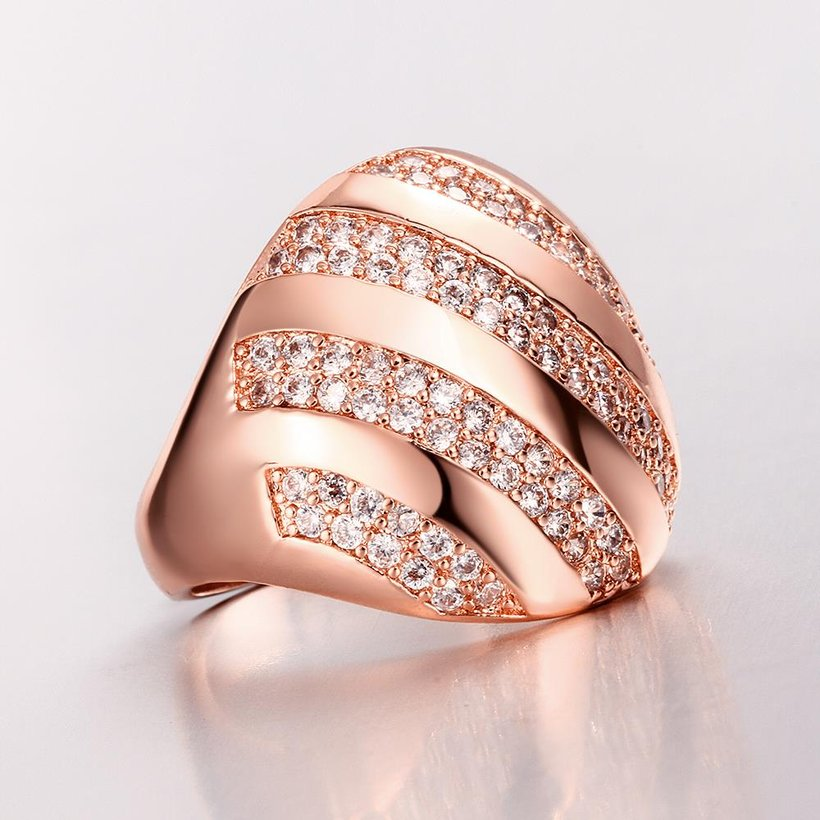 Wholesale Classic Rose Gold Round White CZ Ring TGGPR558 3
