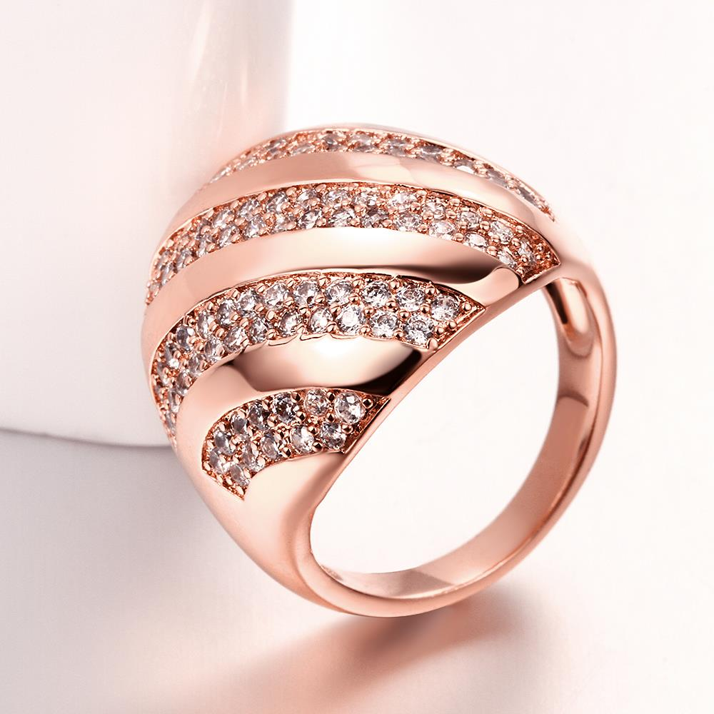 Wholesale Classic Rose Gold Round White CZ Ring TGGPR558 4