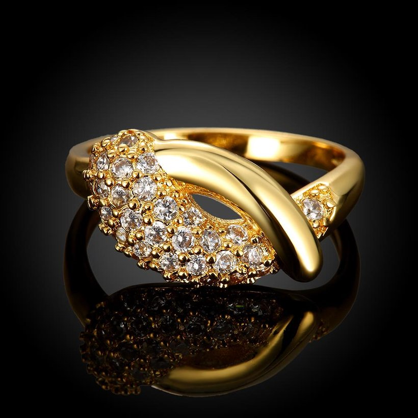 Wholesale Classic 24K Gold Water Drop White CZ Ring TGGPR563 0