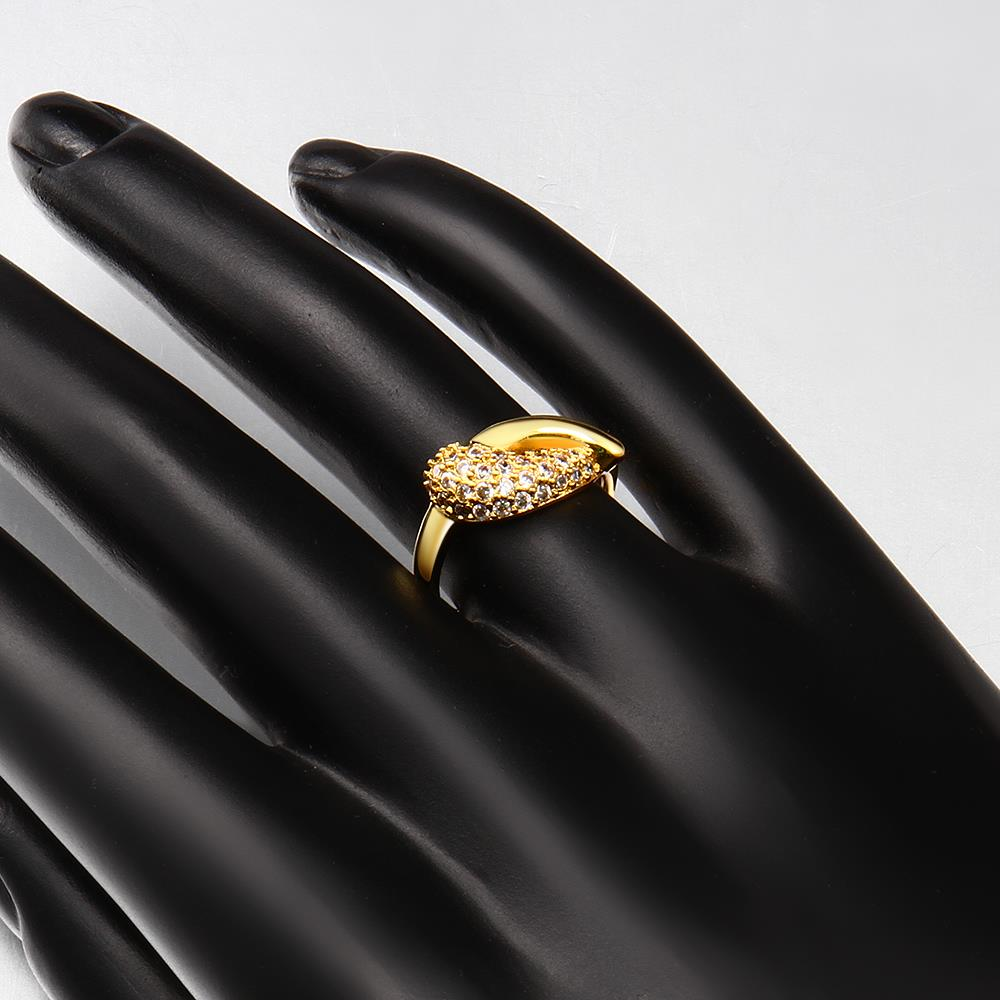 Wholesale Classic 24K Gold Water Drop White CZ Ring TGGPR563 1