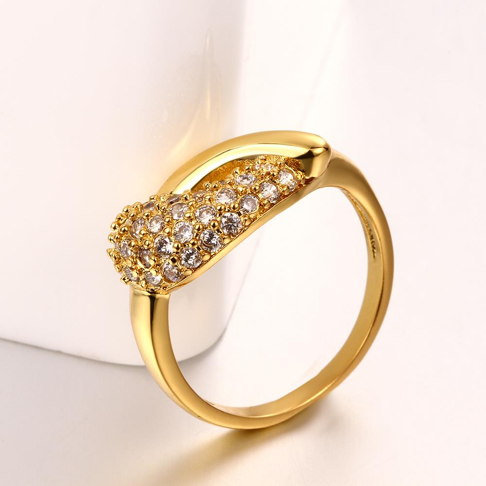 Wholesale Classic 24K Gold Water Drop White CZ Ring TGGPR563 2
