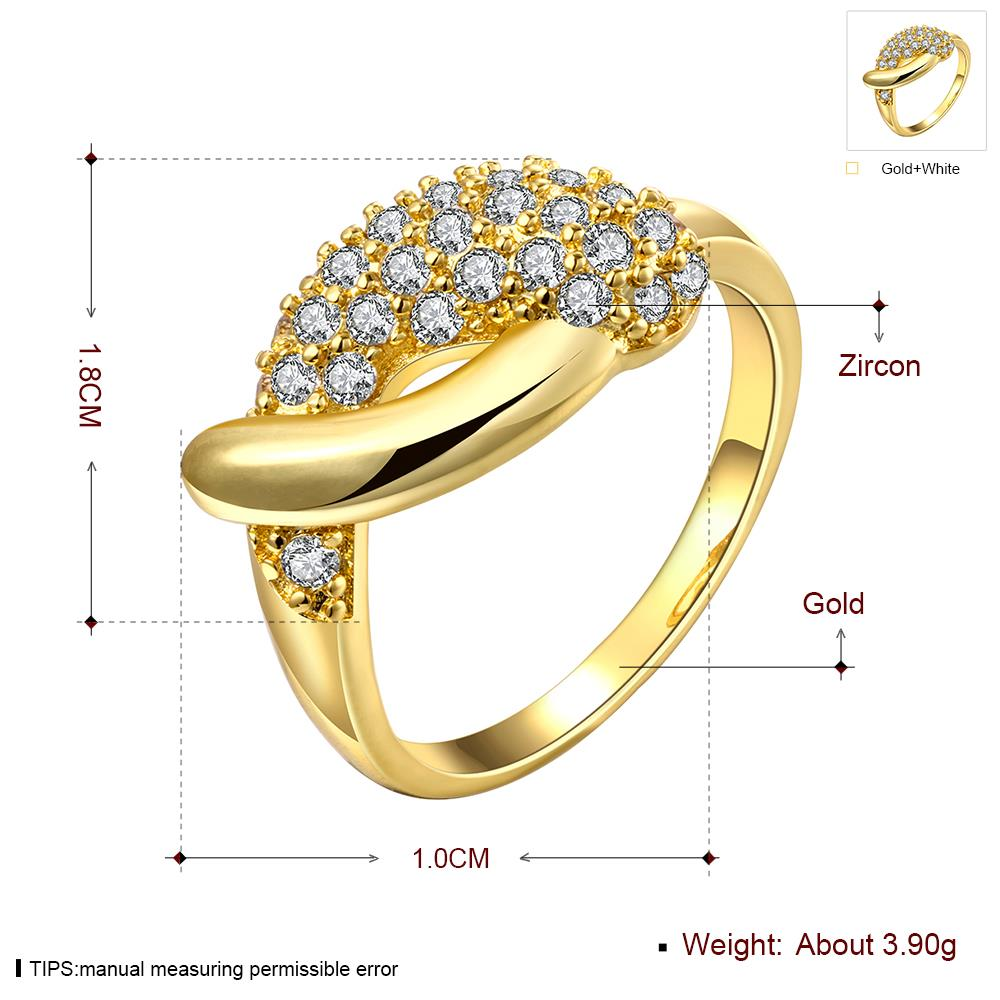Wholesale Classic 24K Gold Water Drop White CZ Ring TGGPR563 3