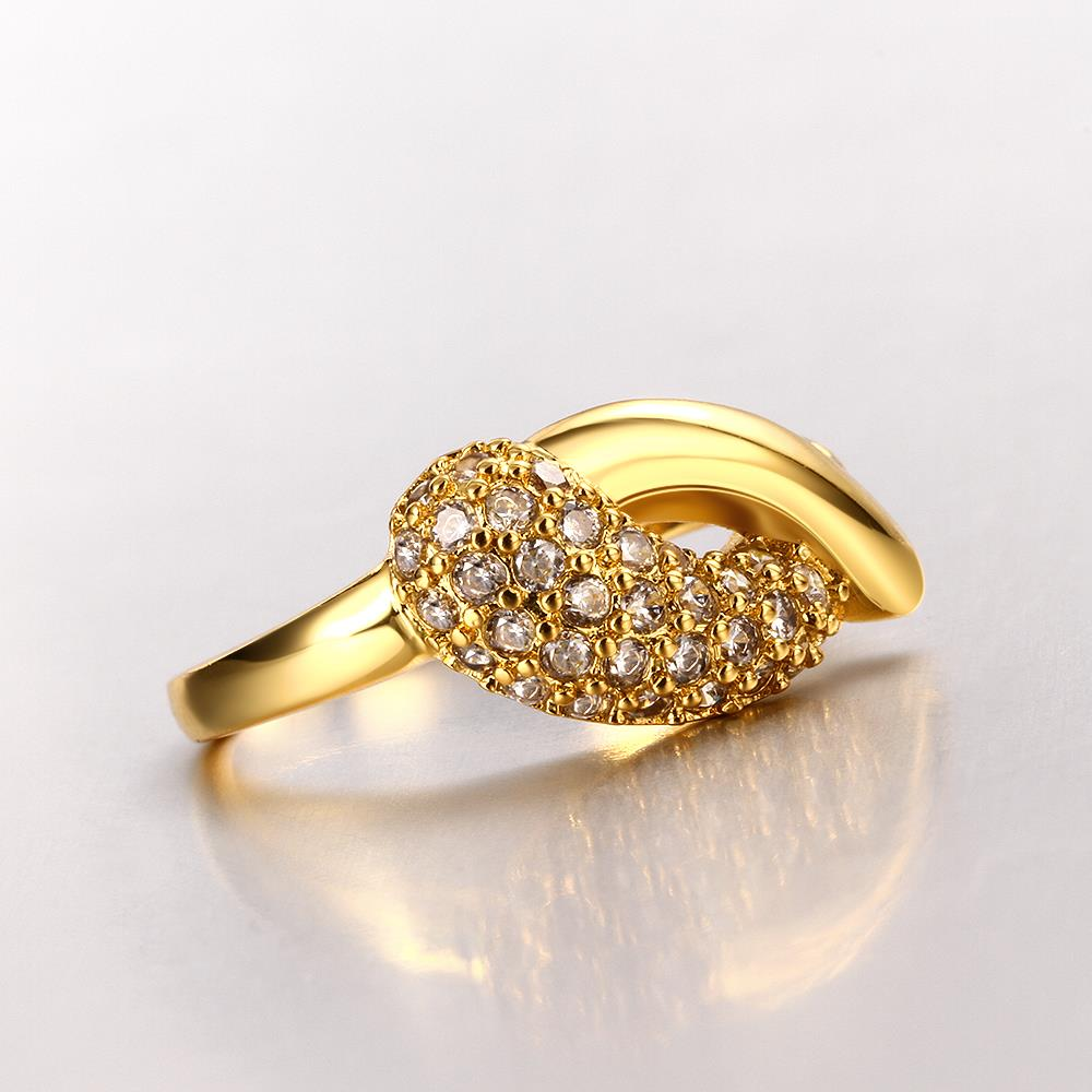 Wholesale Classic 24K Gold Water Drop White CZ Ring TGGPR563 4