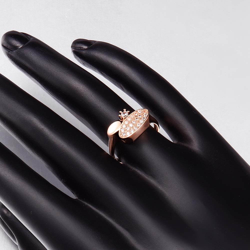 Wholesale Classic Rose Gold Round White CZ Ring TGGPR577 0