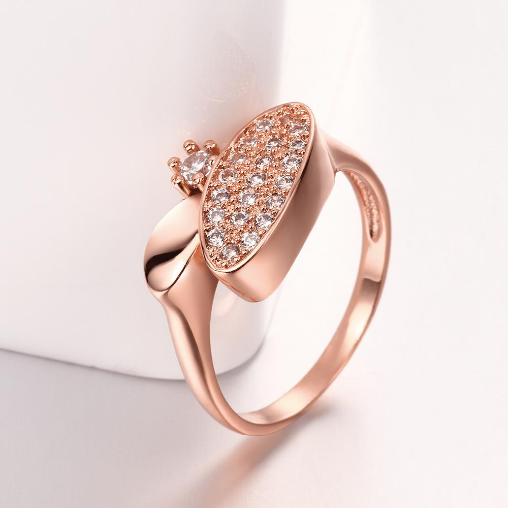 Wholesale Classic Rose Gold Round White CZ Ring TGGPR577 2