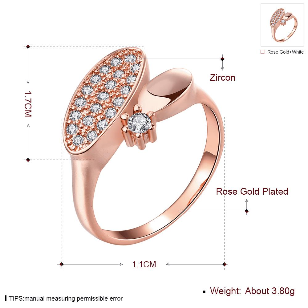 Wholesale Classic Rose Gold Round White CZ Ring TGGPR577 3