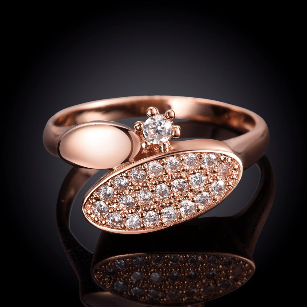 Wholesale Classic Rose Gold Round White CZ Ring TGGPR577 4
