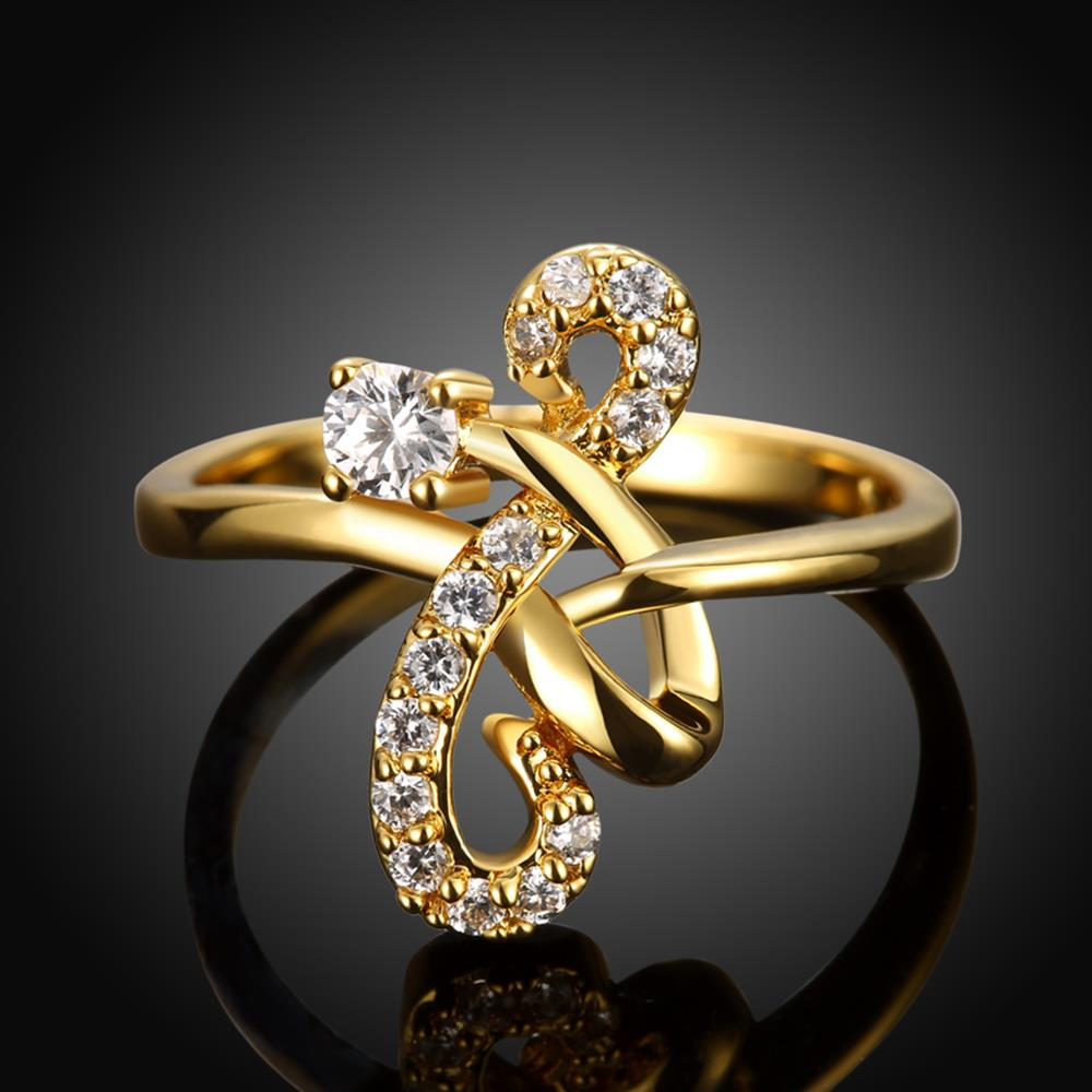 Wholesale Classic 24K Gold Geometric White CZ Ring TGGPR640 0