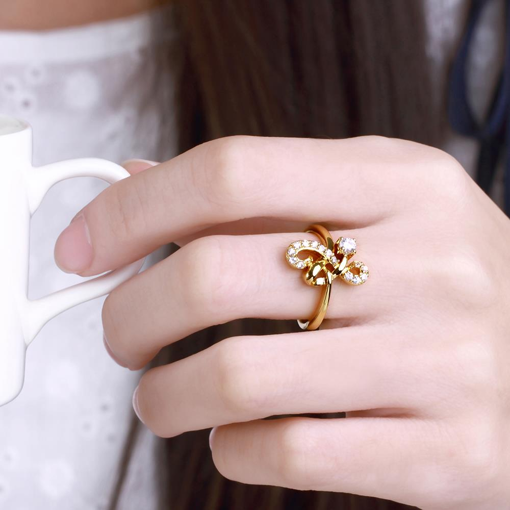 Wholesale Classic 24K Gold Geometric White CZ Ring TGGPR640 1