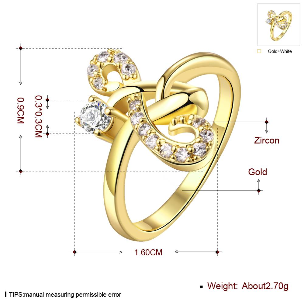 Wholesale Classic 24K Gold Geometric White CZ Ring TGGPR640 2