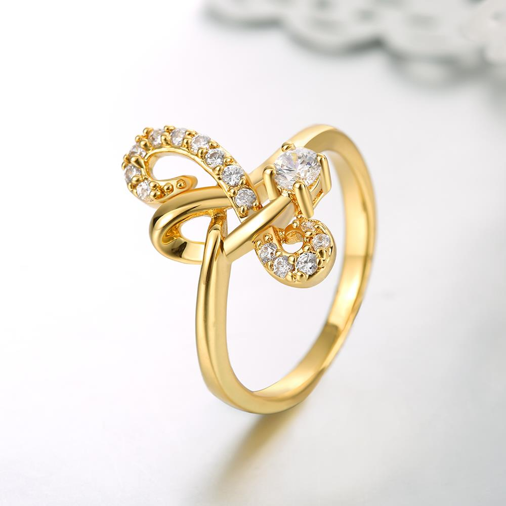 Wholesale Classic 24K Gold Geometric White CZ Ring TGGPR640 3
