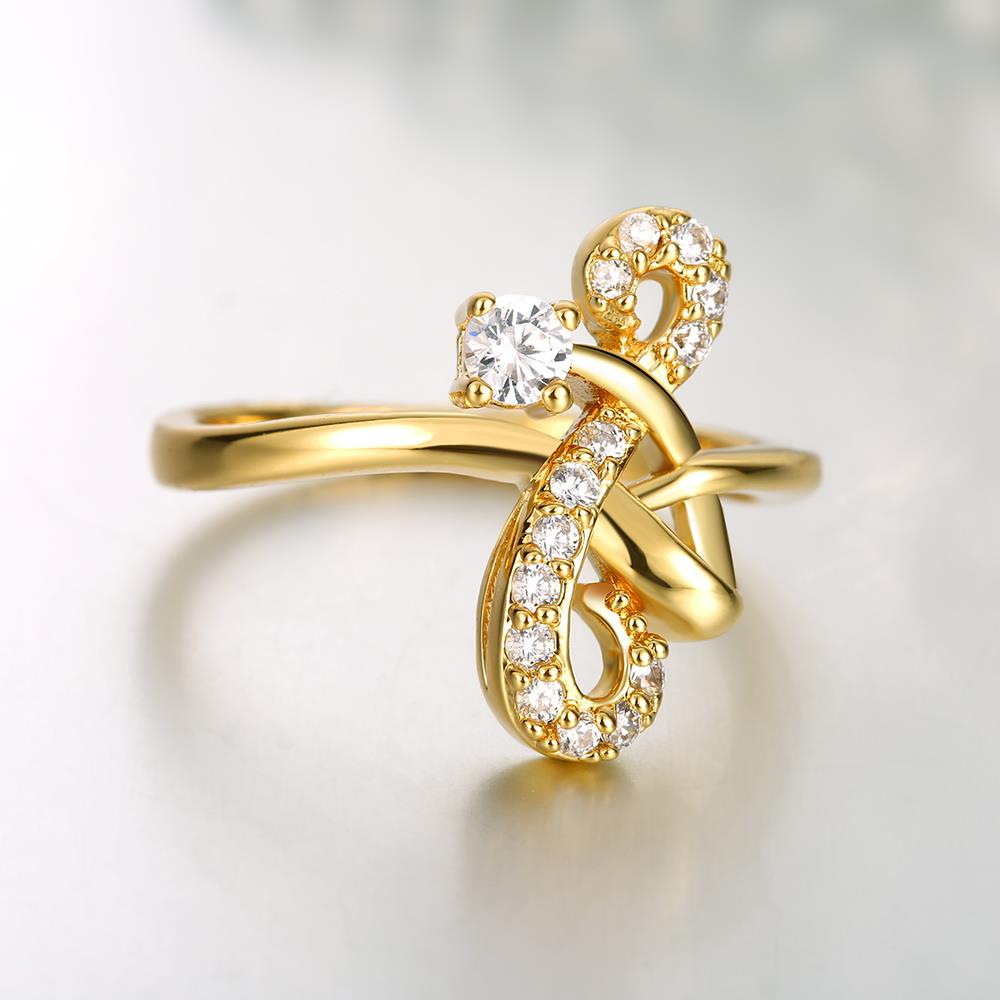 Wholesale Classic 24K Gold Geometric White CZ Ring TGGPR640 4