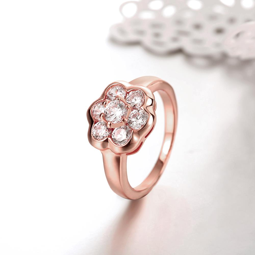 Wholesale Classic Rose Gold Plant White CZ Ring TGGPR654 1