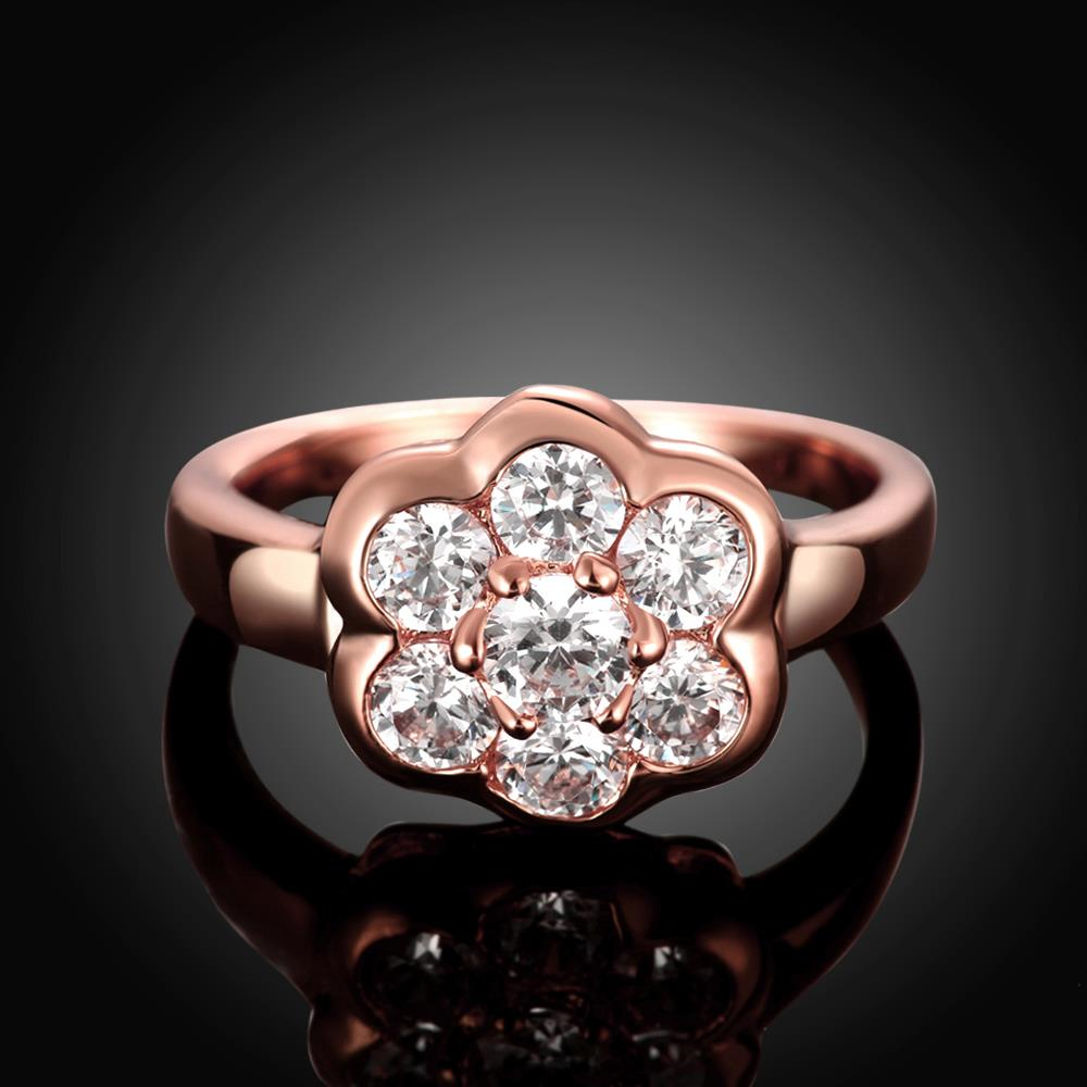 Wholesale Classic Rose Gold Plant White CZ Ring TGGPR654 2