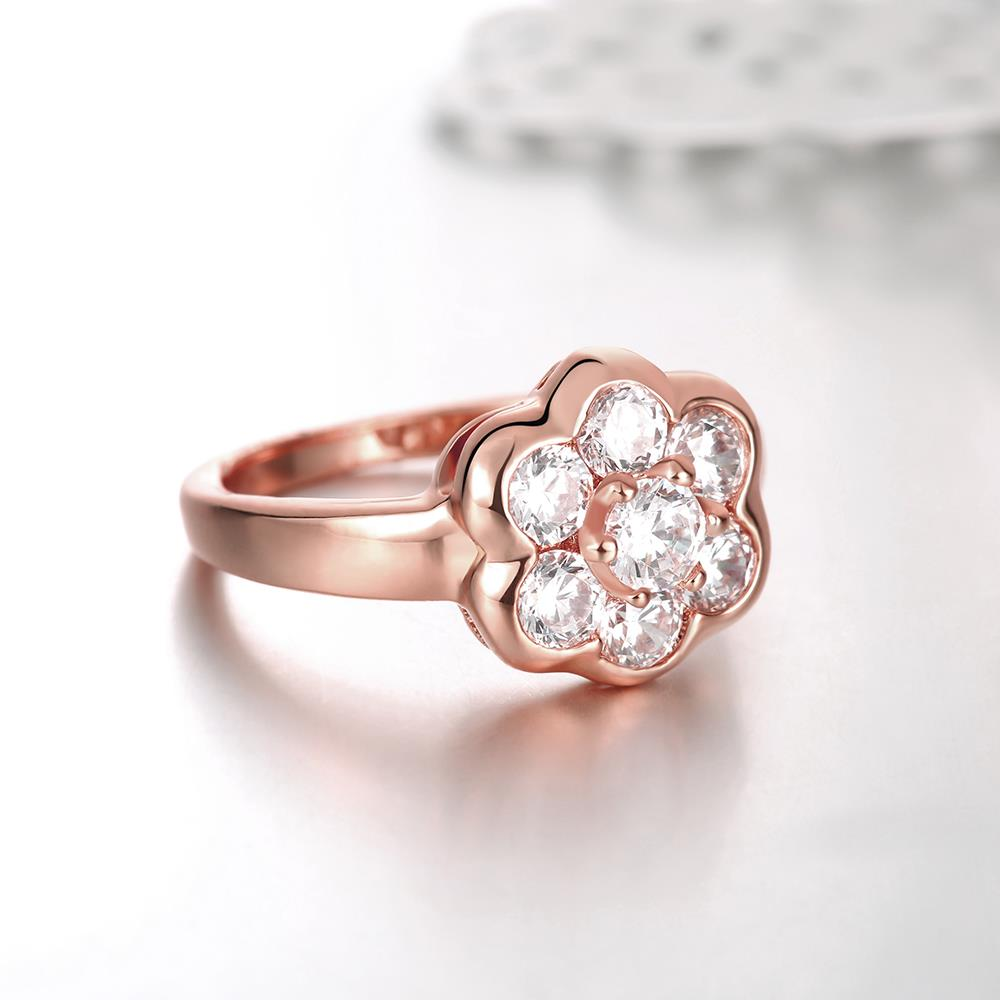 Wholesale Classic Rose Gold Plant White CZ Ring TGGPR654 3