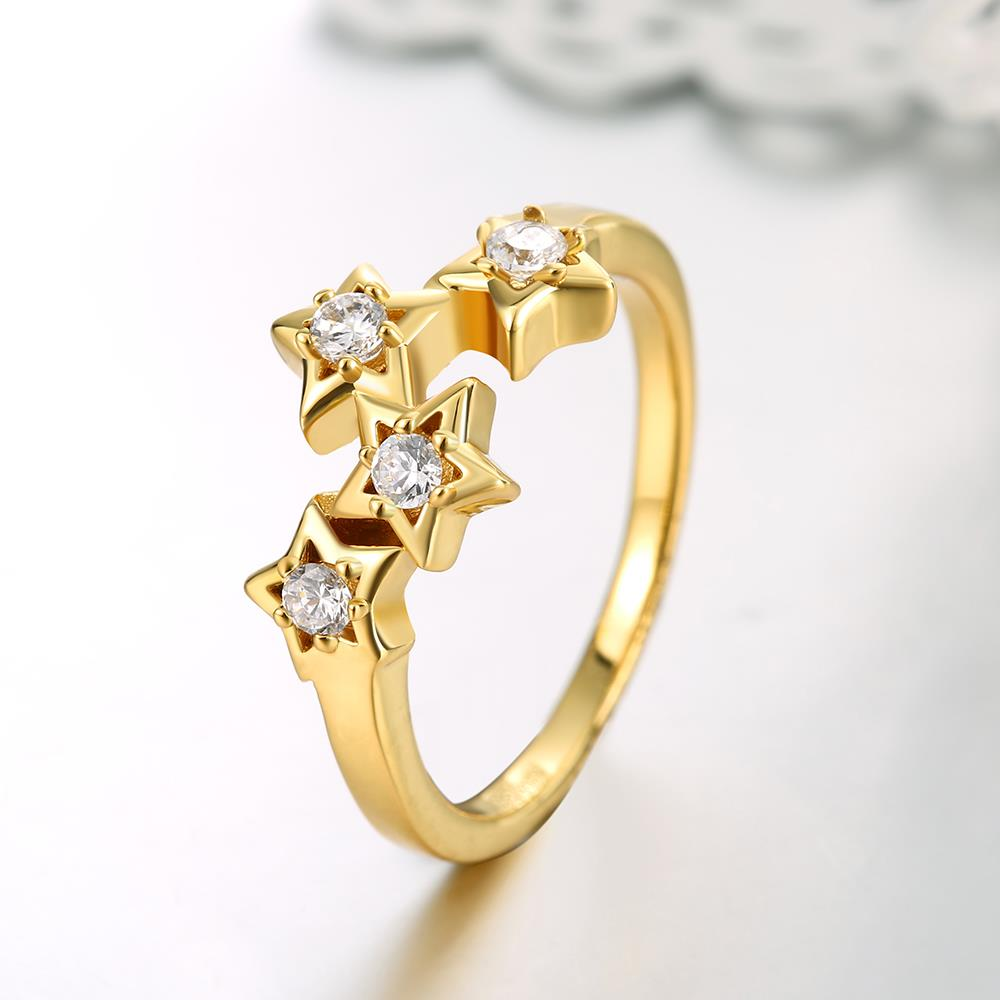 Wholesale Classic 24K Gold Plant White CZ Ring TGGPR669 0