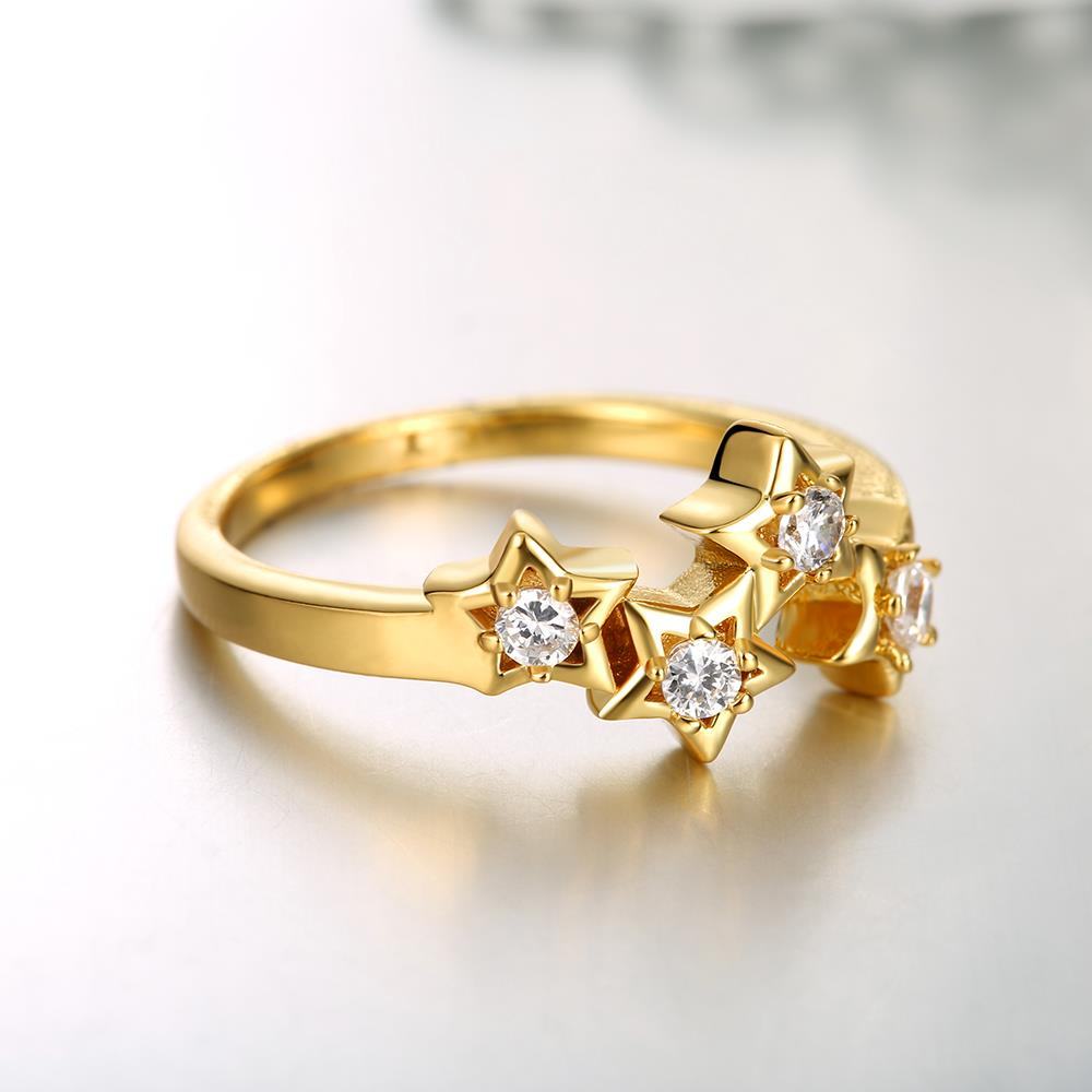 Wholesale Classic 24K Gold Plant White CZ Ring TGGPR669 1