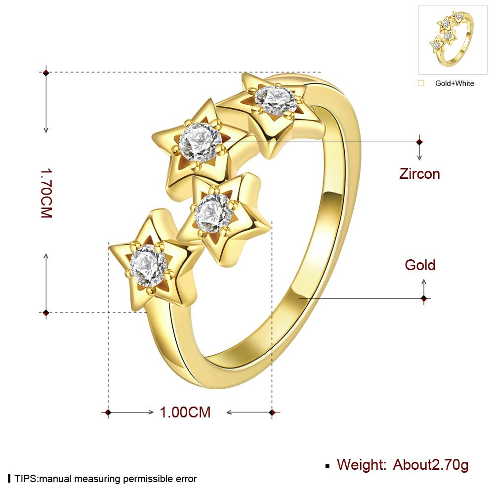Wholesale Classic 24K Gold Plant White CZ Ring TGGPR669 2