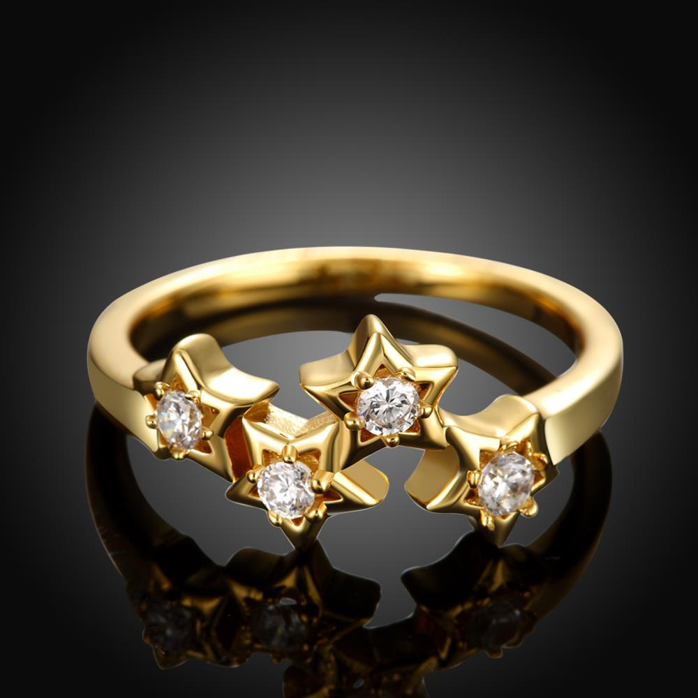 Wholesale Classic 24K Gold Plant White CZ Ring TGGPR669 3