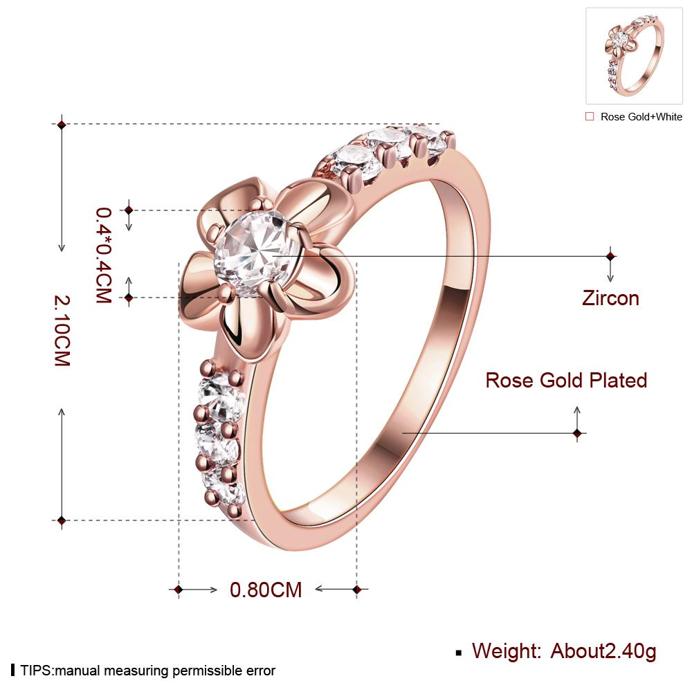 Wholesale Classic Rose Gold Plant White CZ Ring TGGPR674 0