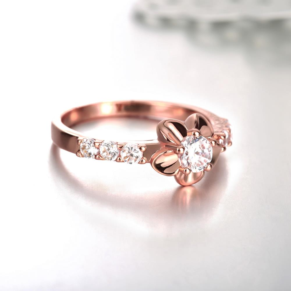 Wholesale Classic Rose Gold Plant White CZ Ring TGGPR674 1