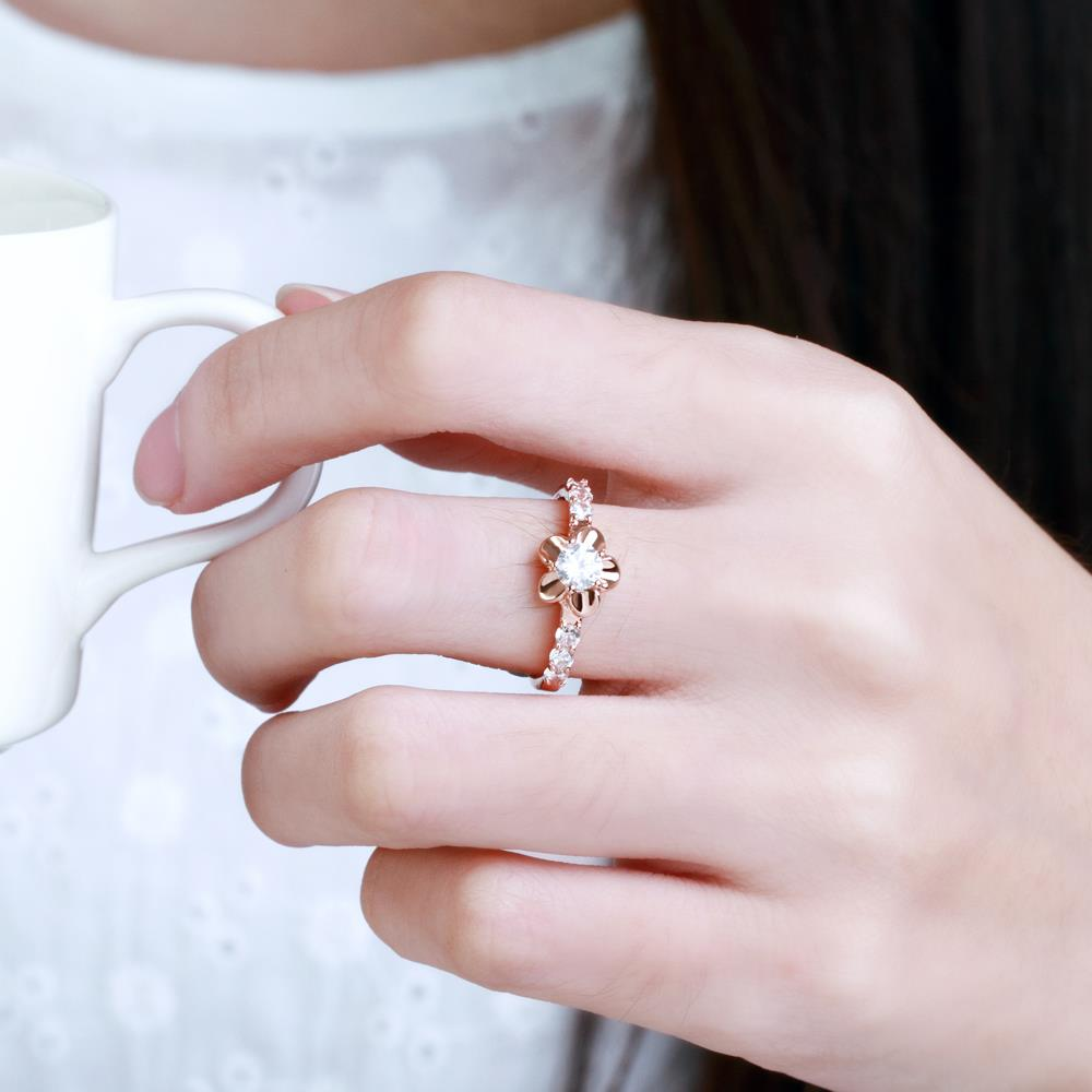 Wholesale Classic Rose Gold Plant White CZ Ring TGGPR674 2