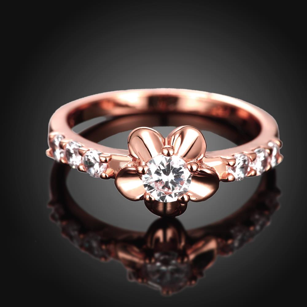 Wholesale Classic Rose Gold Plant White CZ Ring TGGPR674 3