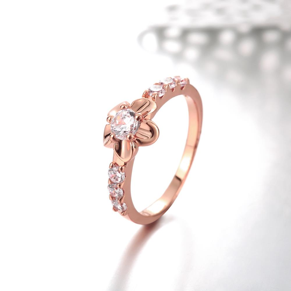 Wholesale Classic Rose Gold Plant White CZ Ring TGGPR674 4