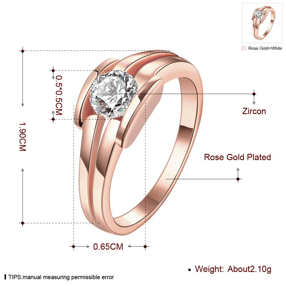 Wholesale Classic Rose Gold Geometric White CZ Ring TGGPR682 0