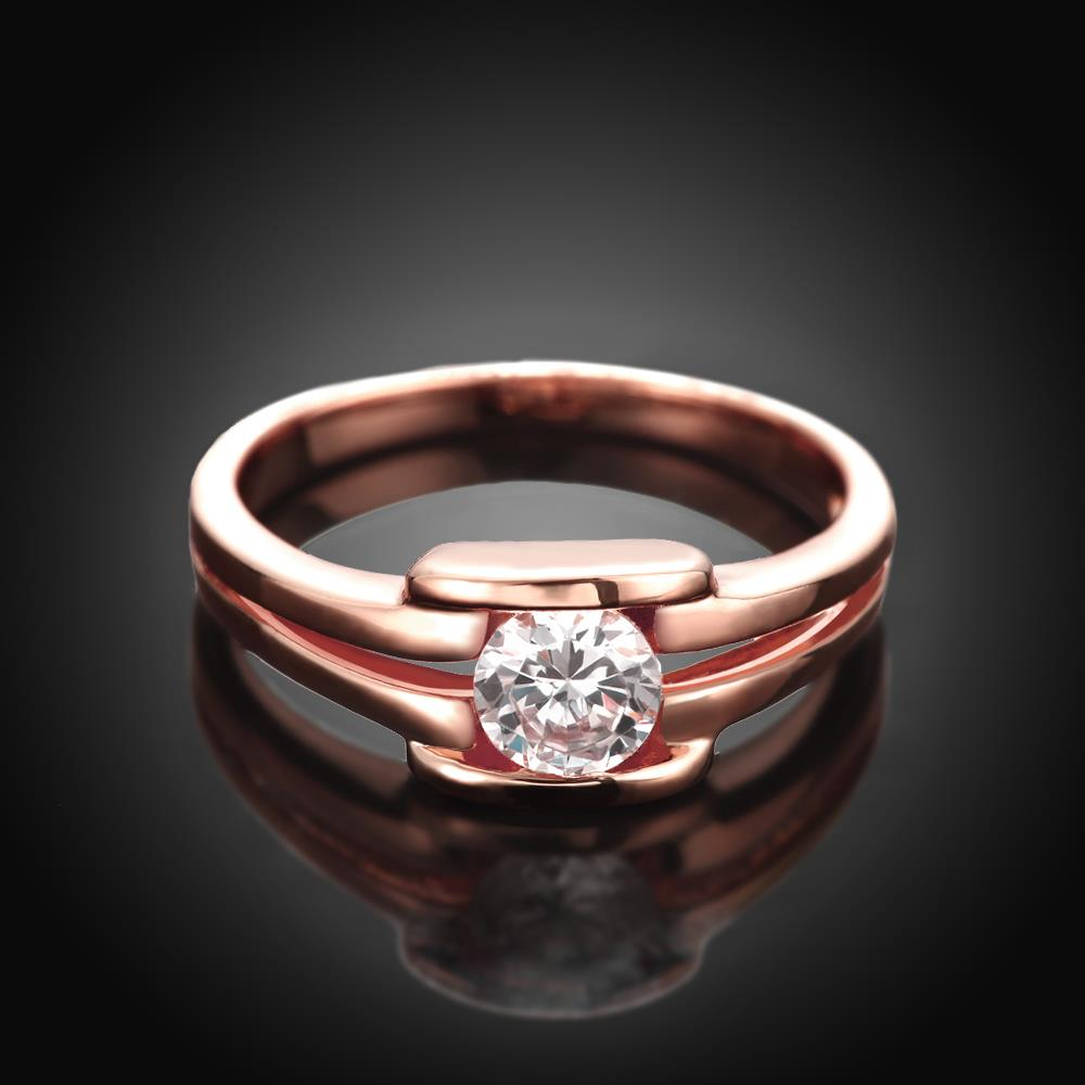 Wholesale Classic Rose Gold Geometric White CZ Ring TGGPR682 1