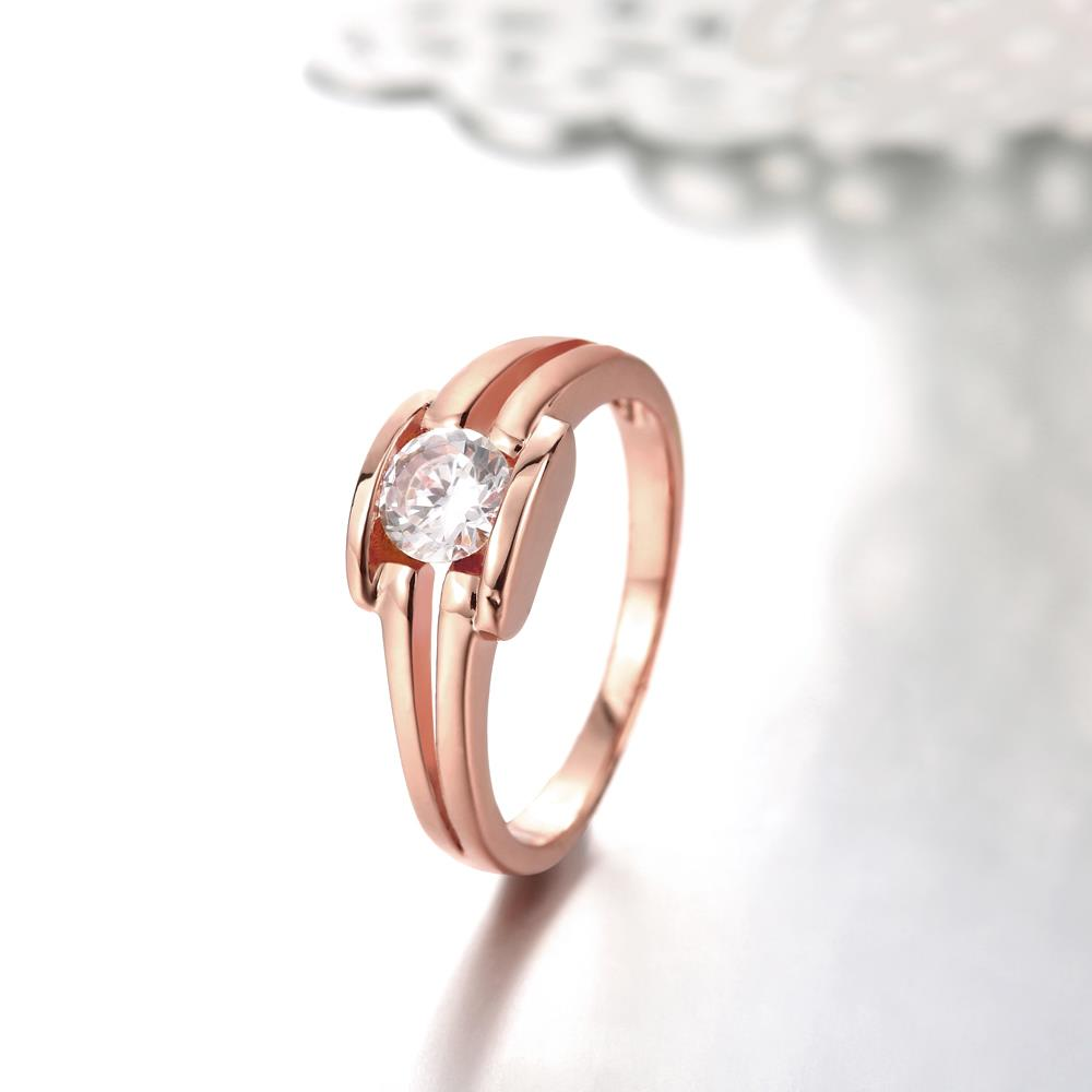 Wholesale Classic Rose Gold Geometric White CZ Ring TGGPR682 2