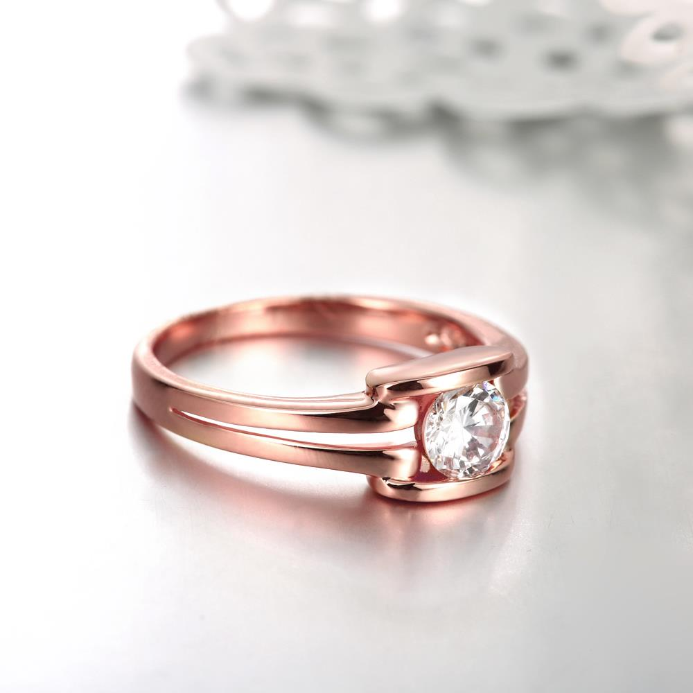 Wholesale Classic Rose Gold Geometric White CZ Ring TGGPR682 3