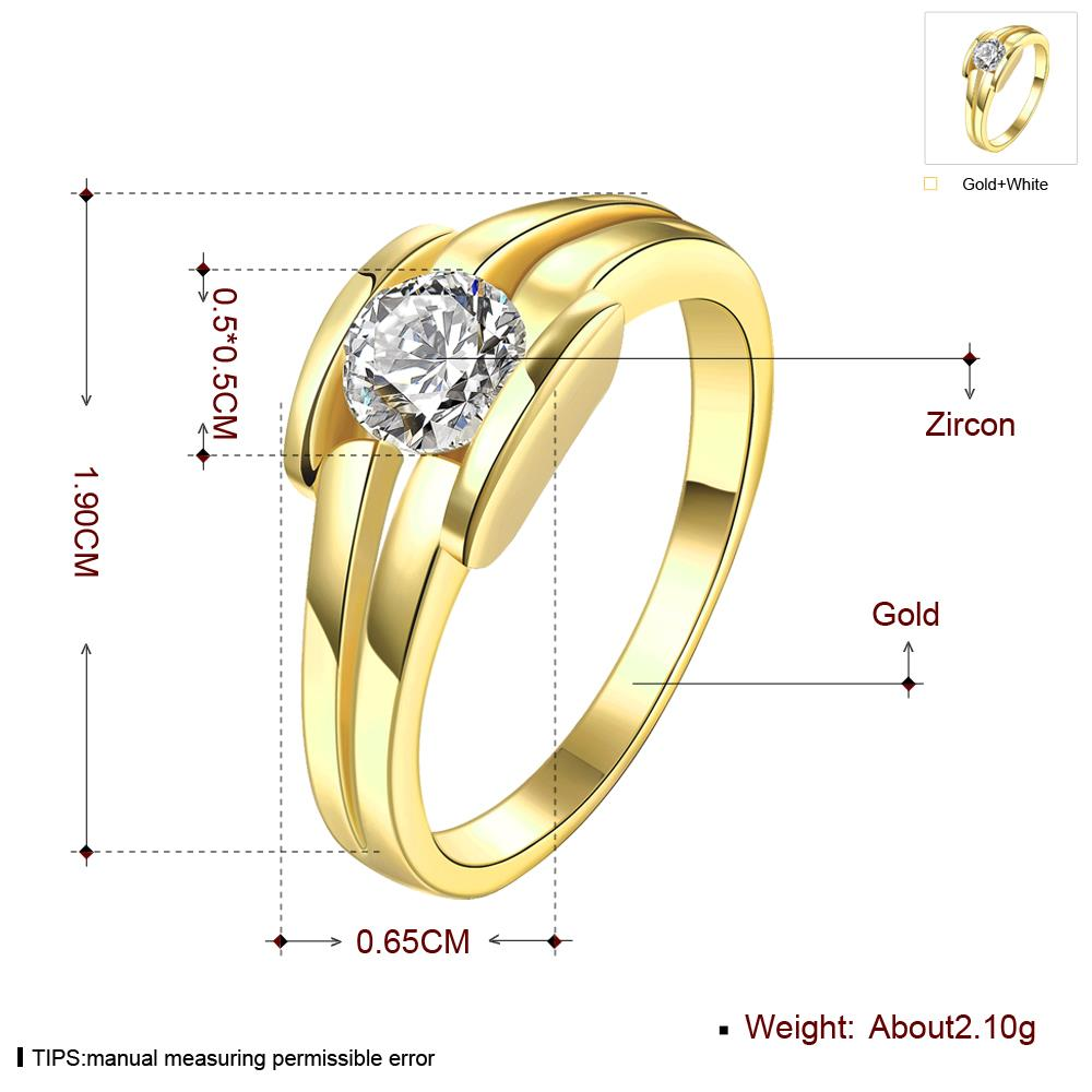Wholesale Classic 24K Gold Geometric White CZ Ring TGGPR686 1