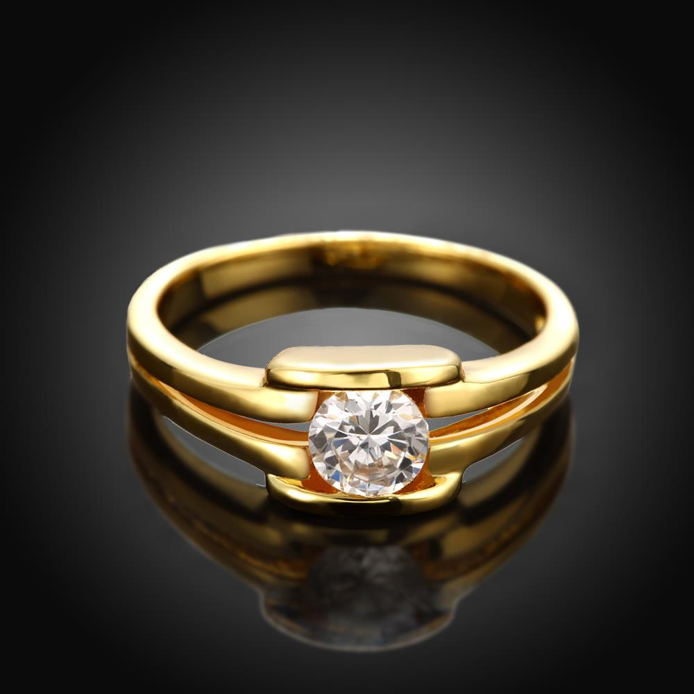 Wholesale Classic 24K Gold Geometric White CZ Ring TGGPR686 2
