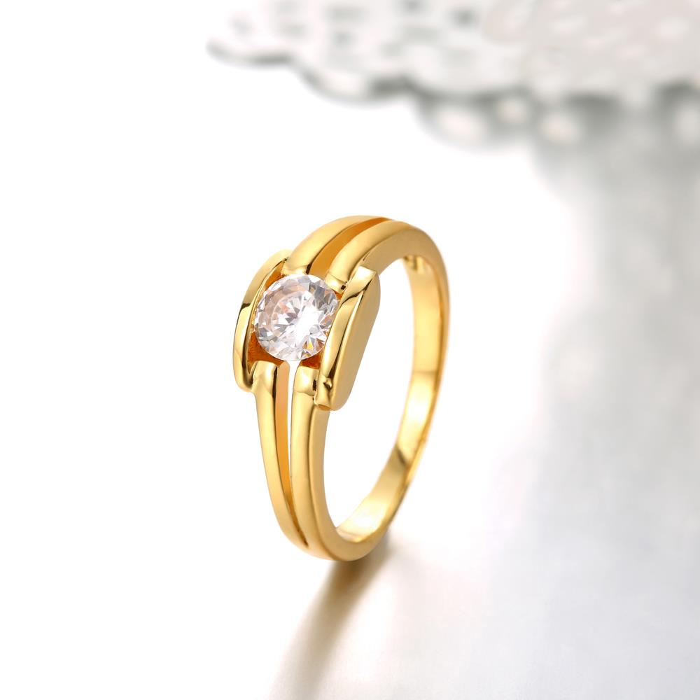 Wholesale Classic 24K Gold Geometric White CZ Ring TGGPR686 3