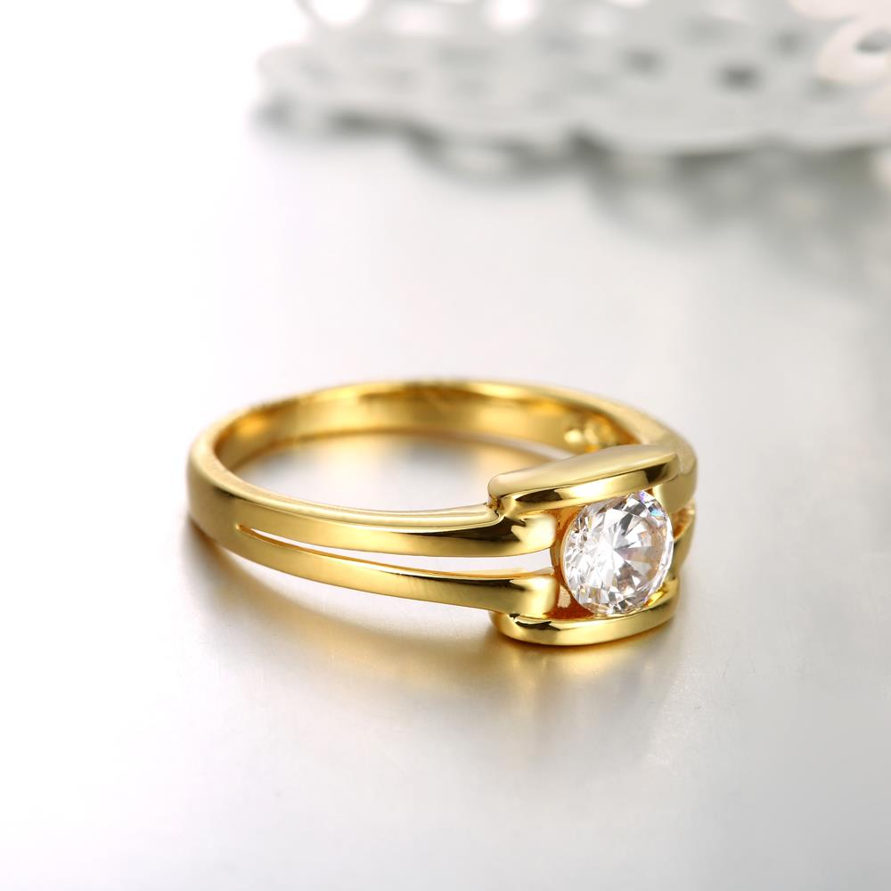 Wholesale Classic 24K Gold Geometric White CZ Ring TGGPR686 4