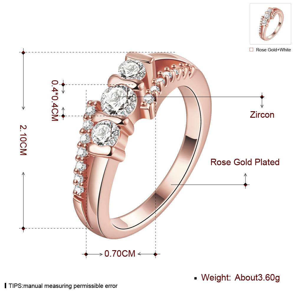 Wholesale Classic Rose Gold Geometric White CZ Ring TGGPR690 0