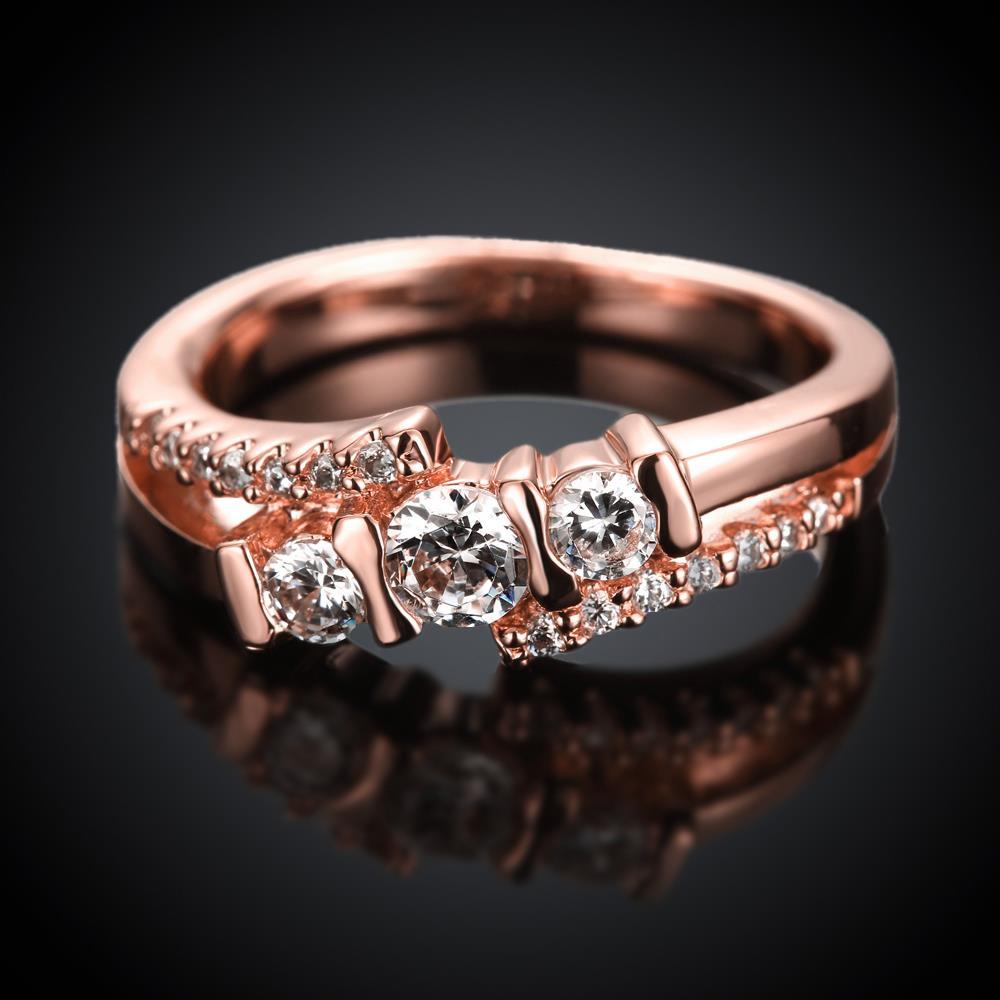 Wholesale Classic Rose Gold Geometric White CZ Ring TGGPR690 1