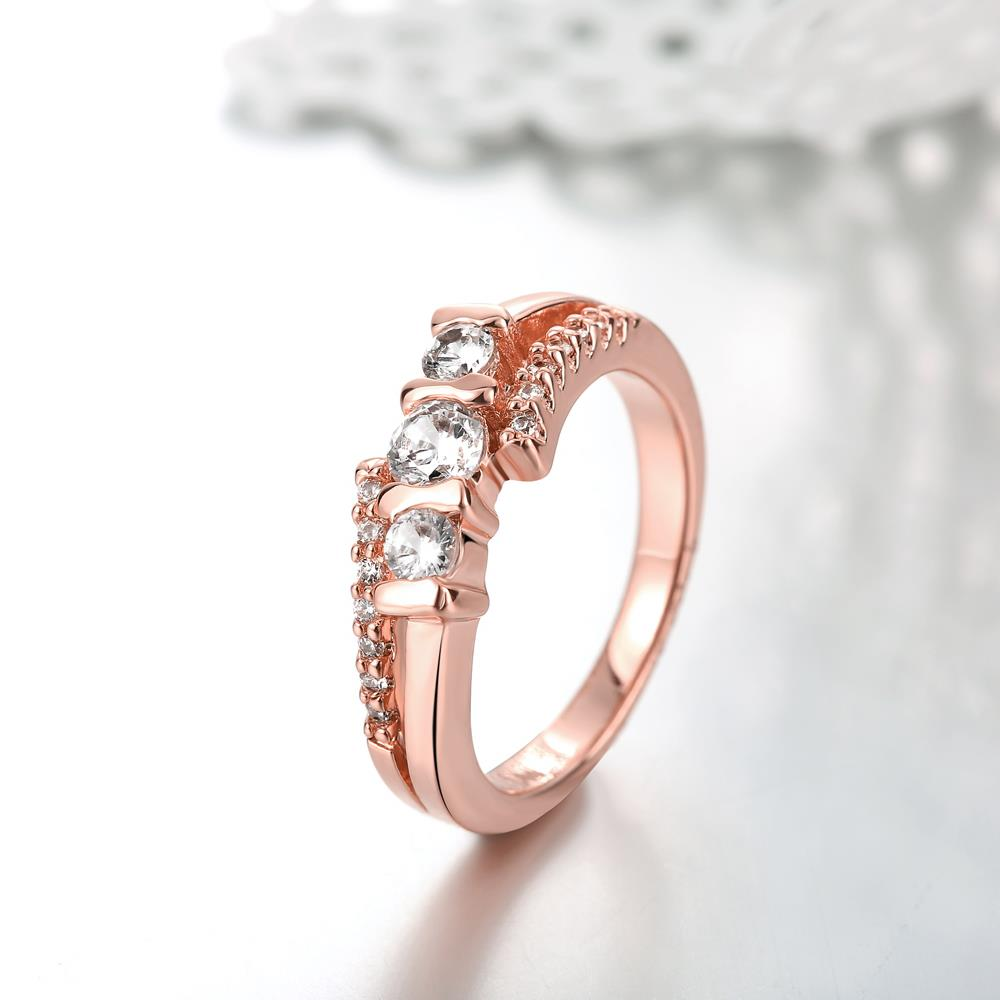 Wholesale Classic Rose Gold Geometric White CZ Ring TGGPR690 2