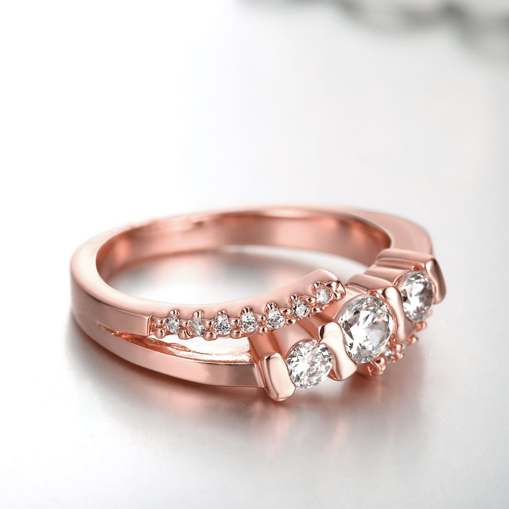 Wholesale Classic Rose Gold Geometric White CZ Ring TGGPR690 3