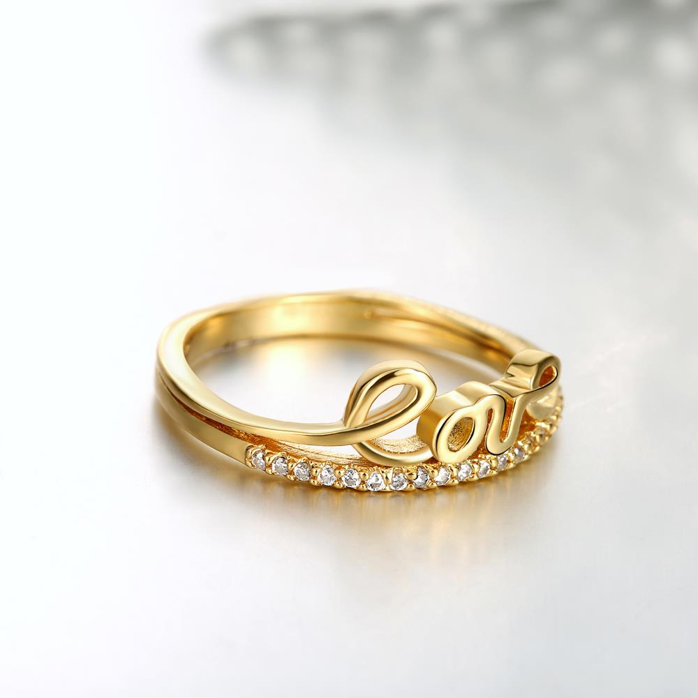 Wholesale Classic 24K Gold Letter White CZ Ring TGGPR710 0