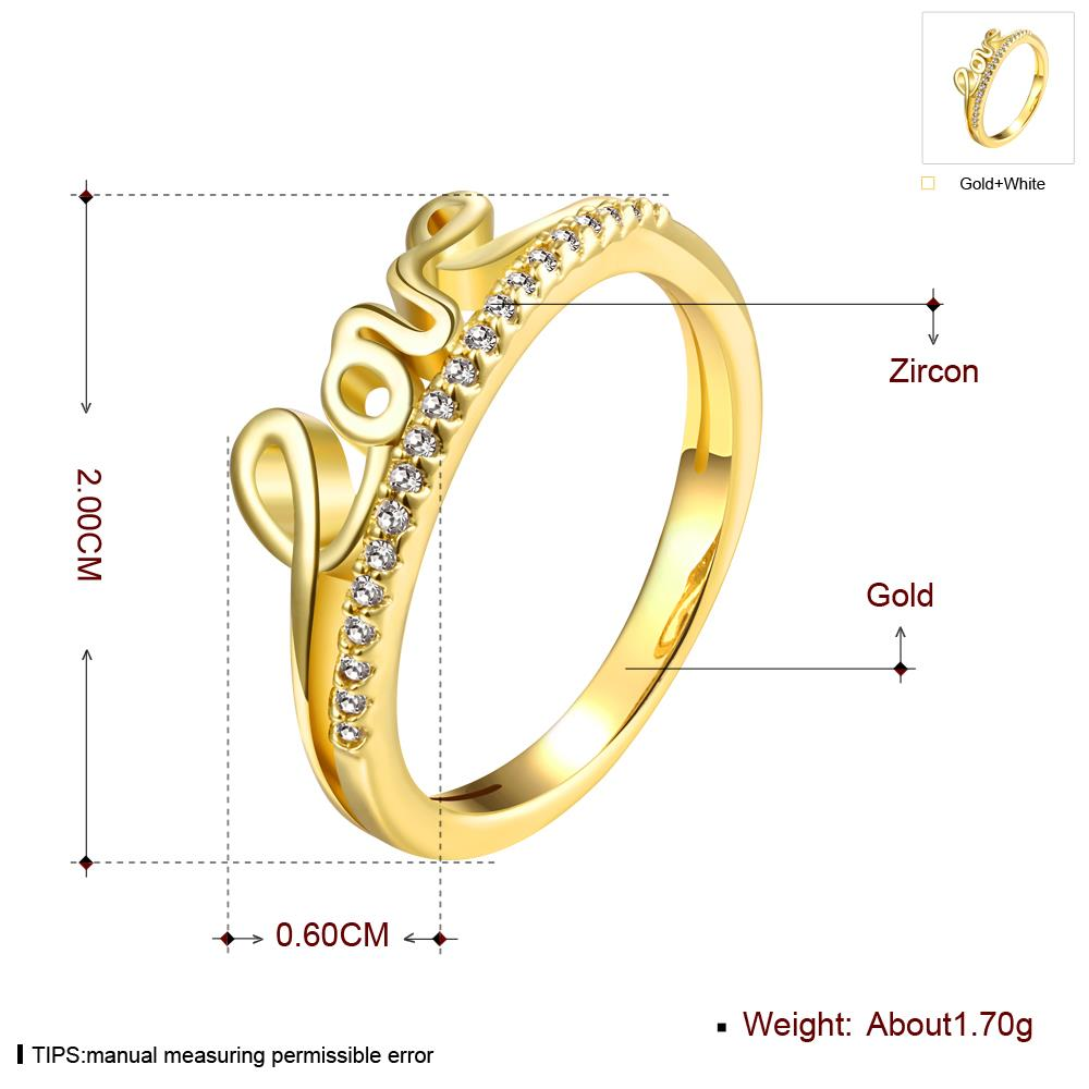 Wholesale Classic 24K Gold Letter White CZ Ring TGGPR710 2