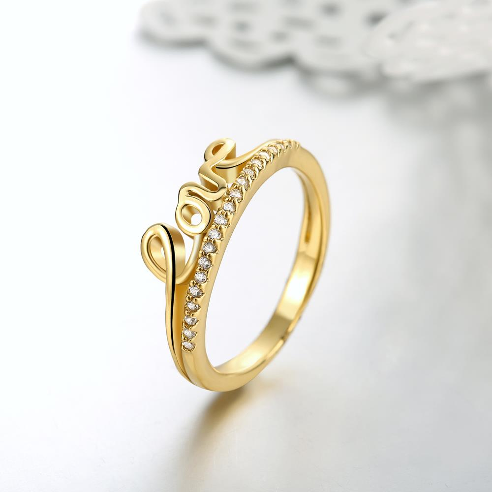 Wholesale Classic 24K Gold Letter White CZ Ring TGGPR710 4
