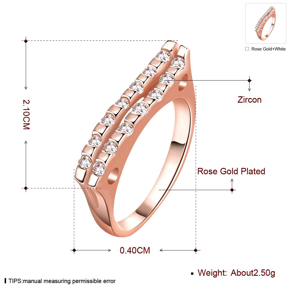 Wholesale Classic Rose Gold Geometric White CZ Ring TGGPR714 0