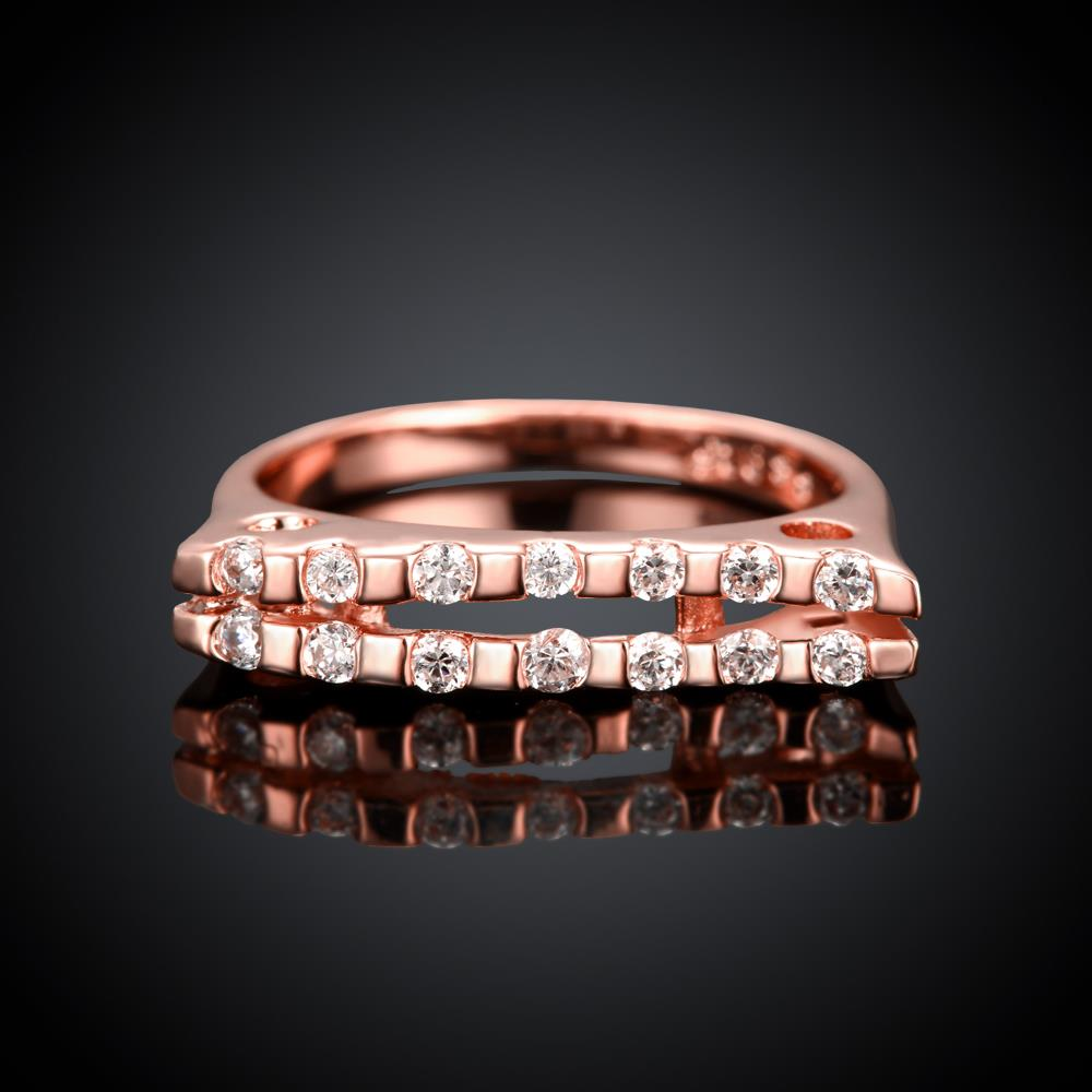 Wholesale Classic Rose Gold Geometric White CZ Ring TGGPR714 1
