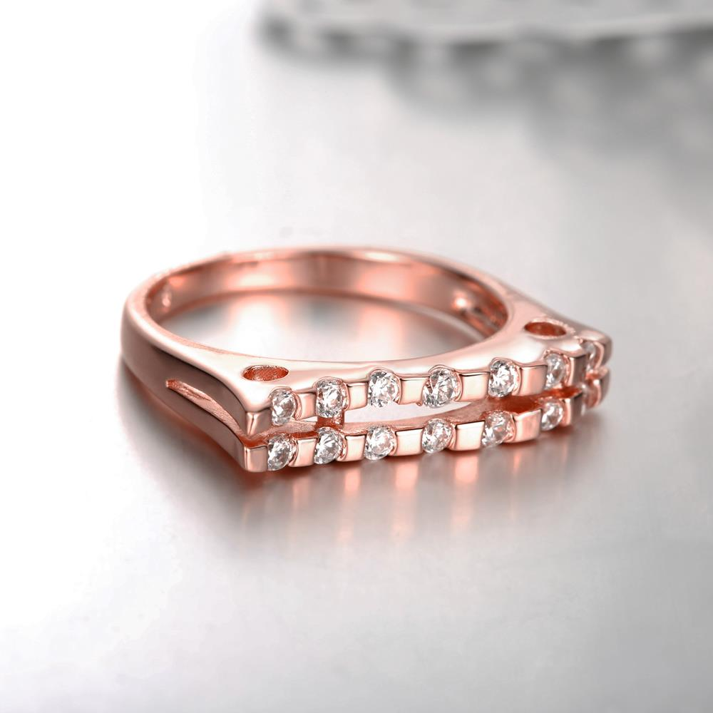 Wholesale Classic Rose Gold Geometric White CZ Ring TGGPR714 3