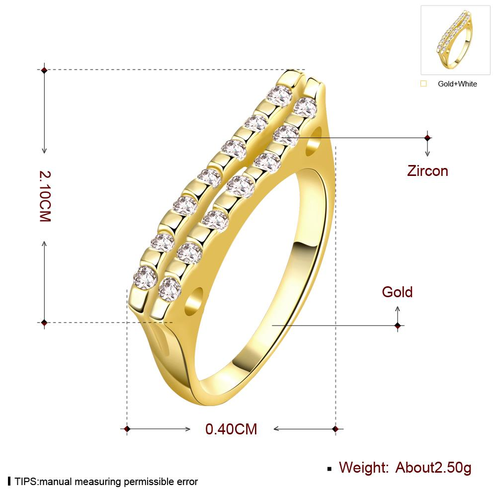 Wholesale Classic 24K Gold Geometric White CZ Ring TGGPR718 0