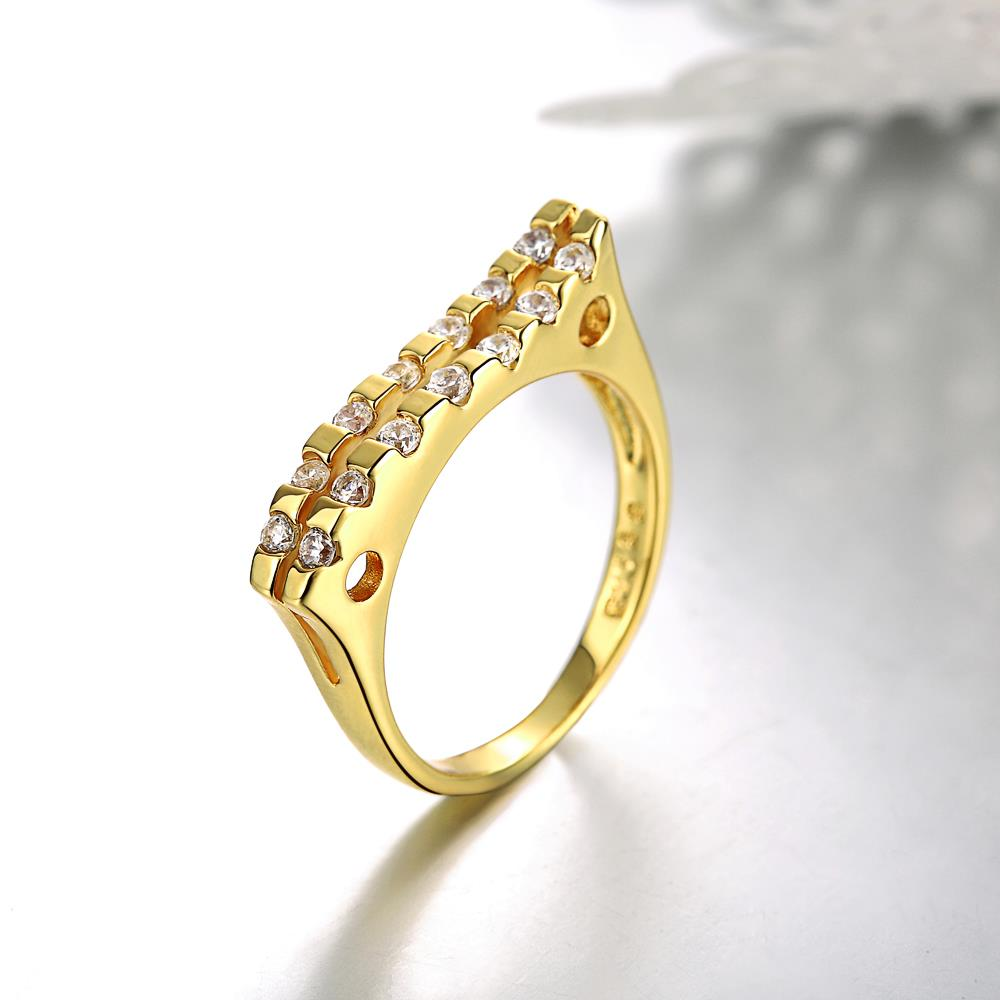 Wholesale Classic 24K Gold Geometric White CZ Ring TGGPR718 1