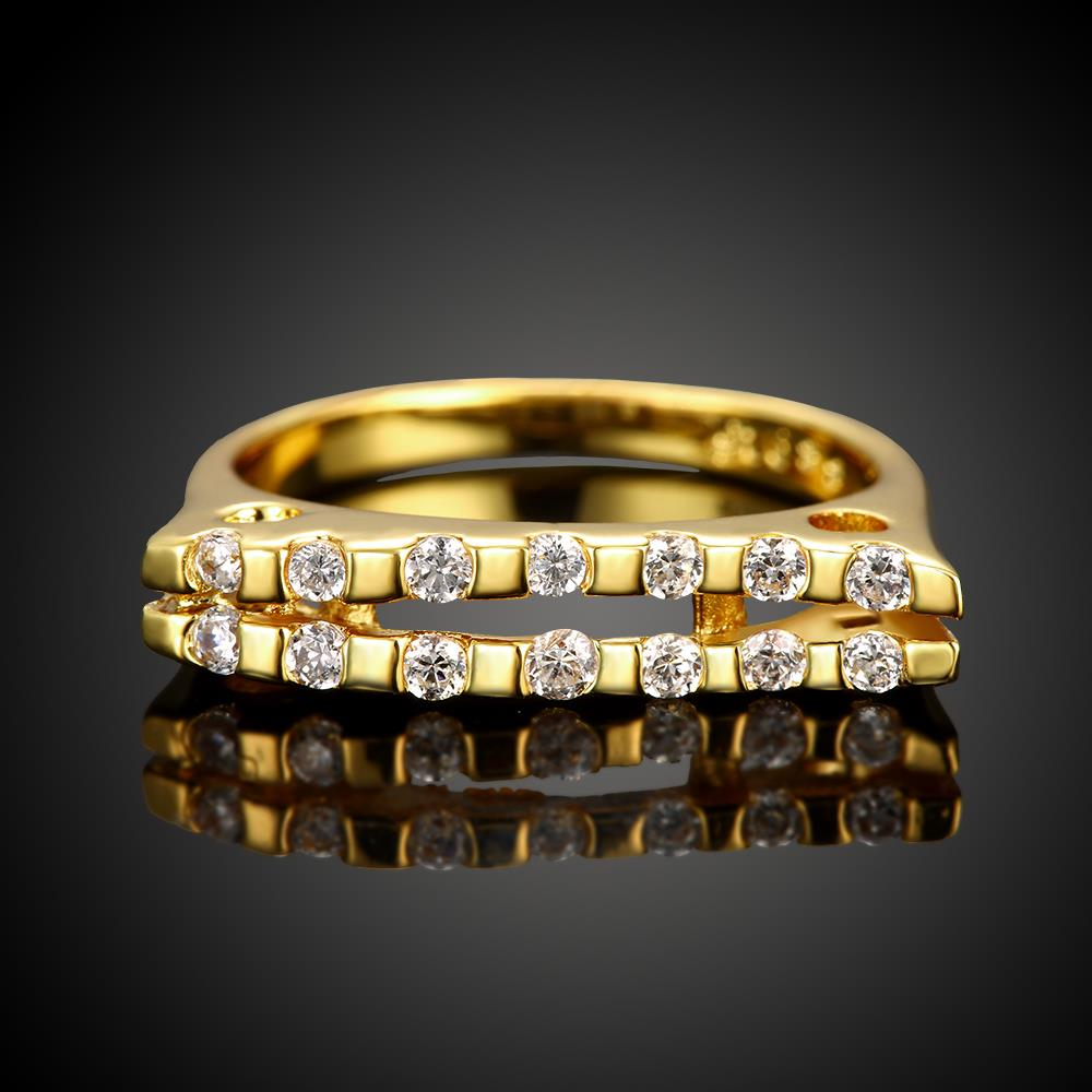 Wholesale Classic 24K Gold Geometric White CZ Ring TGGPR718 2