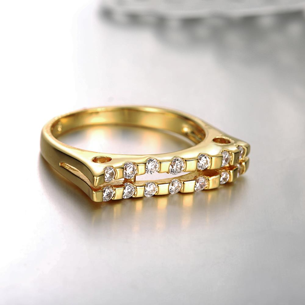 Wholesale Classic 24K Gold Geometric White CZ Ring TGGPR718 3